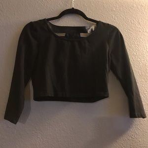 Bebe Crop Top with Pleather Back Detail
